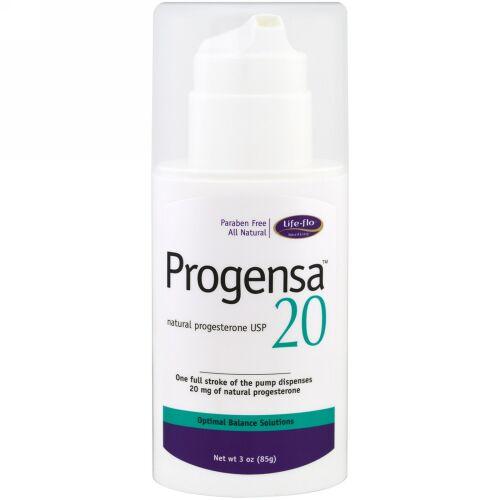 Life-flo, Progensa(プロゲンサ)、天然プロゲステロン USP 20、3オンス(85 g) (Discontinued Item)