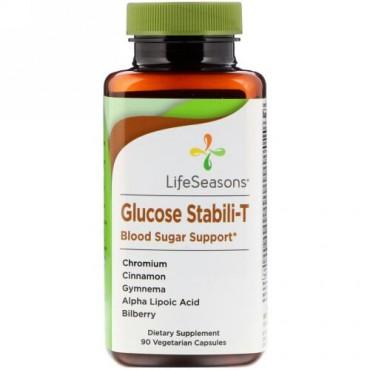 LifeSeasons, グルコーススタビライT 血糖値サポート、植物性カプセル90粒
