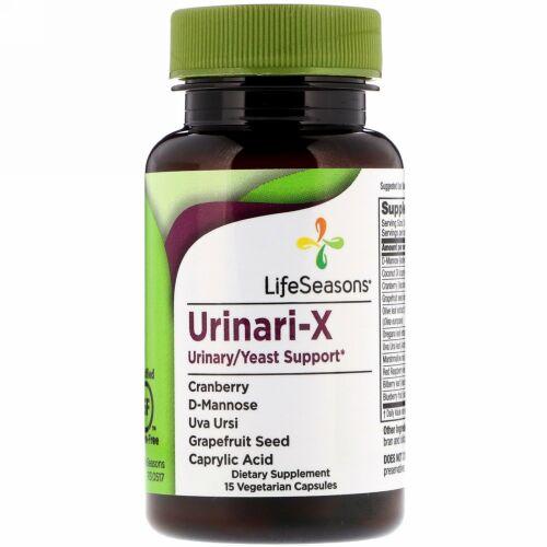 LifeSeasons, ユリナリ-X尿/酵母サポート、ベジタリアンカプセル15錠