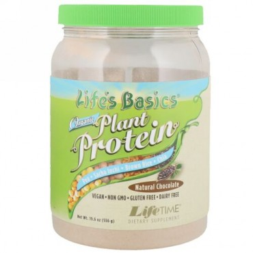 LifeTime Vitamins, Life's Basics, Organic Plant Protein, Natural Chocolate, 19.6 oz (556 g) (Discontinued Item)