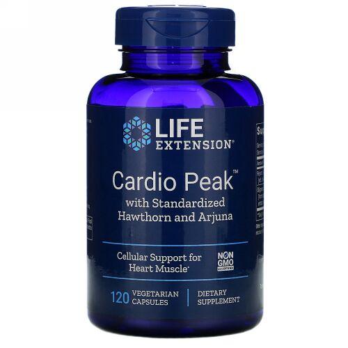 Life Extension, カルディオピーク(Cardio Peak)基準合格のサンザシとアルジュナを配合 、植物性カプセル120錠