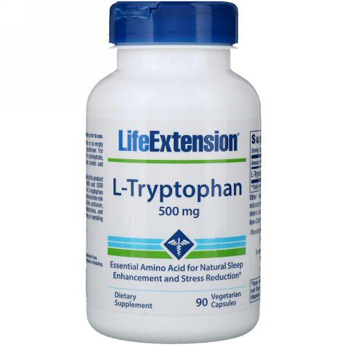 Life Extension, L-トリプトファン、500mg、植物性カプセル90粒