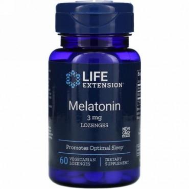 Life Extension, メラトニン、3mg、植物性トローチ 60粒