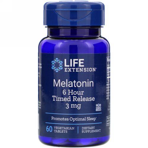 Life Extension, Melatonin(メラトニン)、6時間タイムリリース、3mg、植物性タブレット60粒
