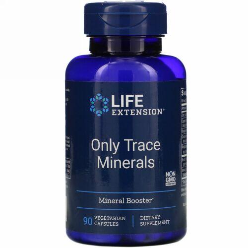 Life Extension, オンリートレースミネラルズ、植物性カプセル 90錠