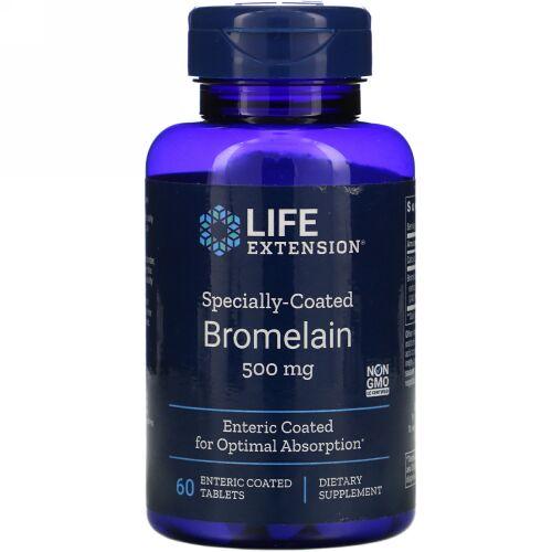 Life Extension, 特製コートされたブロメライン、 500 mg、 60腸溶錠