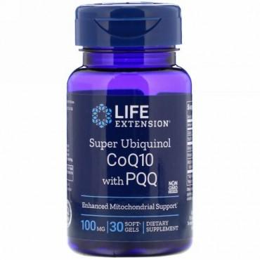 Life Extension, PQQ配合スーパーユビキノールCoQ10、100mg、ソフトジェル30粒