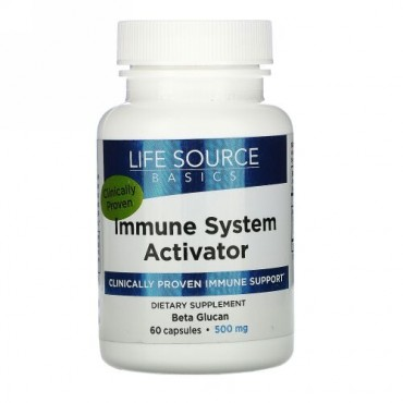Life Source Basics (WGP Beta Glucan), 免疫系活性化剤, 500 mg, 60カプセル