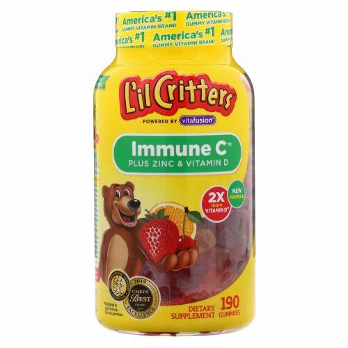 L'il Critters, Immune C(イミューンC)プラス亜鉛&ビタミンD、グミ190粒