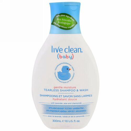 Live Clean, ベビー, しっとり保湿タイプ, 目を刺激しないシャンプー & ウォッシュ, 10液量オンス (300 ml)