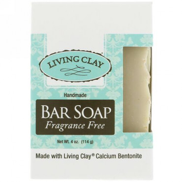 Living Clay, Handmade Bar Soap, Fragrance Free, 4 oz (114 g) (Discontinued Item)