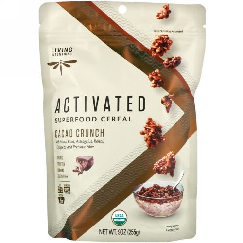 Living Intentions, Activated, Superfood Cereal, Cacao Crunch, 9 oz (255 g) (Discontinued Item)