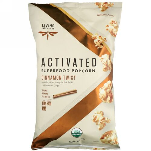 Living Intentions, Activated, Superfood Popcorn, Cinnamon Twist, 4 oz (113 g) (Discontinued Item)