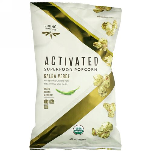 Living Intentions, Activated, Superfood Popcorn, Salsa Verde, 4 oz (113 g) (Discontinued Item)