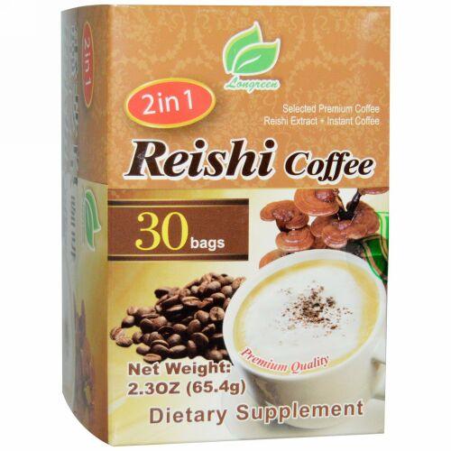 Longreen, 2イン 1 霊芝コーヒー、霊芝 & コーヒー、30袋、各2.3 oz (65.4 g)