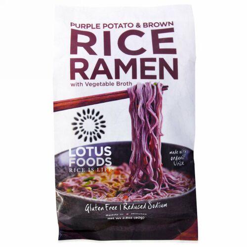 Lotus Foods, パープルポテト & ブラウンライスラーメン、 野菜スープ、 10 パック、 各2.8 oz (Discontinued Item)