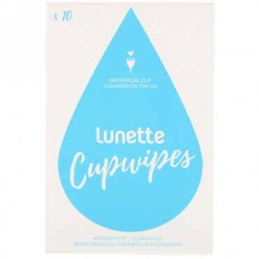 Lunette, Cupwipe, Menstrual Cup Cleanser On The Go, 10 Wipes (Discontinued Item)