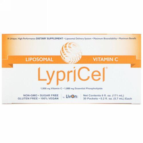 LypriCel, リポソームビタミンC、 30包、 各0.2液量オンス (5.7 ml) (Discontinued Item)