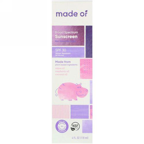 MADE OF, ブロードスペクトラムサンスクリーン、SPF 30、4液量オンス (118 ml) (Discontinued Item)