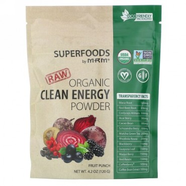 MRM, Raw Organic Clean Energy Powder, Fruit Punch, 4.2 oz (120 g)