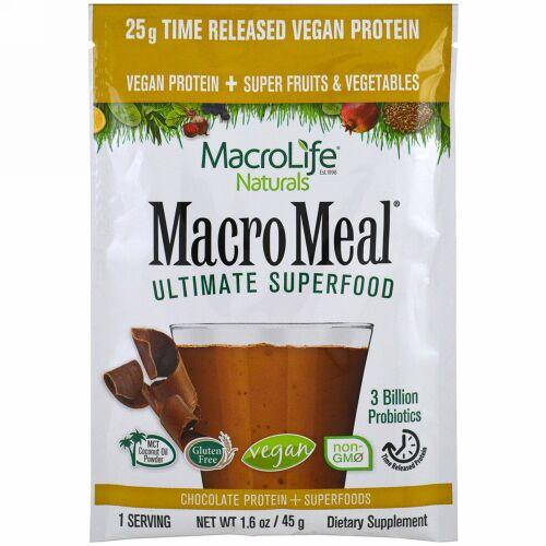 Macrolife Naturals, Macromeal Vegan, Chocolate, 1.6 oz (45g), Single Packet (Discontinued Item)