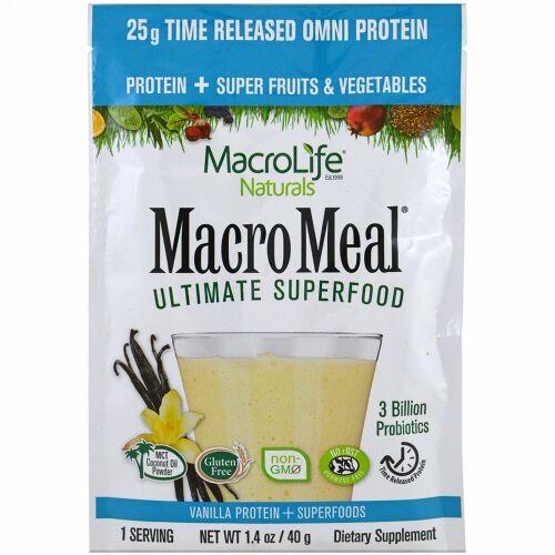 Macrolife Naturals, マクロミール・究極のスーパーフード、バニラプロテイン + スーパーフード、1.4 oz (40 g) (Discontinued Item)