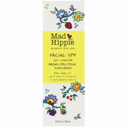 Mad Hippie Skin Care Products, 顔用SPF30+ UVA/UVBブロードスペクトラム日焼け止め、2.0 oz (59 g)