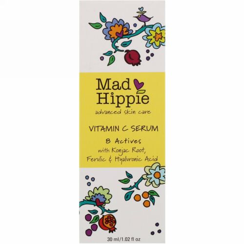 Mad Hippie Skin Care Products, ビタミンCセラム、8アクティブ、1.02液量オンス(30ml)