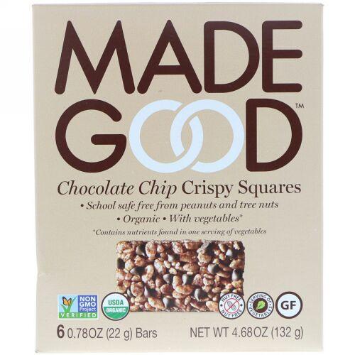 MadeGood, クリスピースクエア、チョコレートチップ、6本、各0.78 oz (22 g) (Discontinued Item)