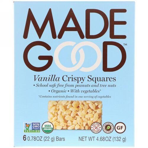 MadeGood, オーガニック、クリスピースクエア、バニラ、6本、22g(0.78 oz) (Discontinued Item)