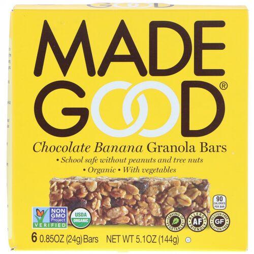 MadeGood, オーガニック、グラノーラバー、チョコレートバナナ、6本、1本24g(0.85 oz) (Discontinued Item)