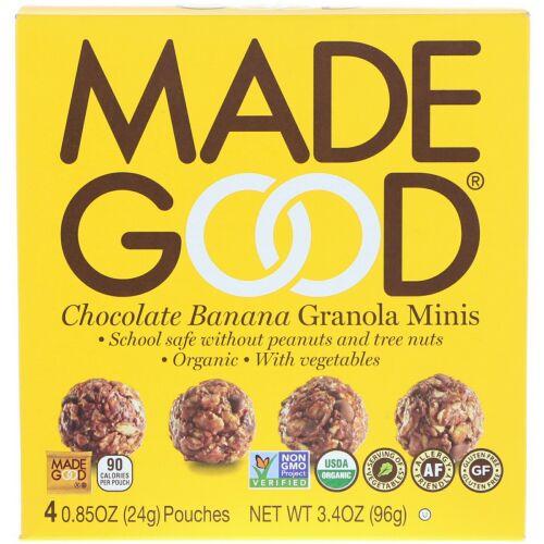 MadeGood, Granola Minis, Chocolate Banana, 4 Pouches, 0.85 oz (24 g) Each (Discontinued Item)