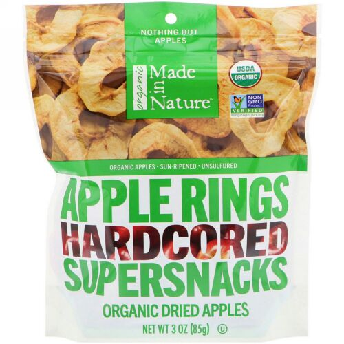Made in Nature, オーガニック, アップルリング, ハードコアスーパースナック, 3oz(85g)
