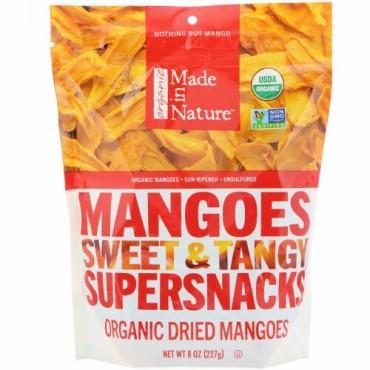 Made in Nature, オーガニックドライマンゴー、スイート&タンジースーパースナック、227 g(8 oz)