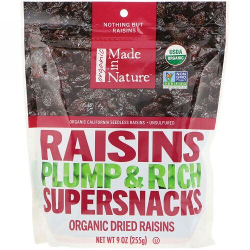 Made in Nature, オーガニック、レーズン、ふっくらでリッチなスーパースナック、9 oz (255 g)