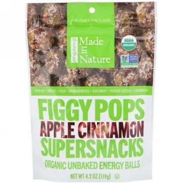 Made in Nature, オーガニックフィギーポップス, スーパースナック, アップルシナモン, 4.2オンス (119 g) (Discontinued Item)