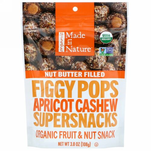 Made in Nature, Organic Figgy Pops, Apricot Cashew Supersnacks, 3.8 oz (108 g) (Discontinued Item)