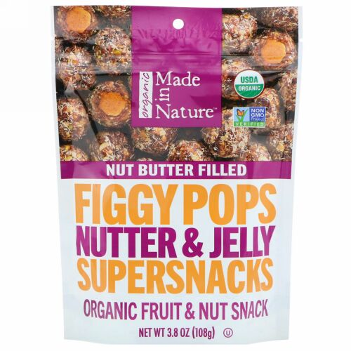 Made in Nature, Organic Figgy Pops, Nutter & Jelly Supersnacks 3.8 oz (108 g) (Discontinued Item)