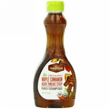 Madhava Natural Sweeteners, オーガニック メープルシナモン・アガベ・パンケーキシロップ, 11.75 液量オンス (347 ml) (Discontinued Item)
