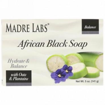 Madre Labs, アフリカン・ブラックソープバー、オーツ麦・オオバコ配合、5 oz (141 g) (Discontinued Item)