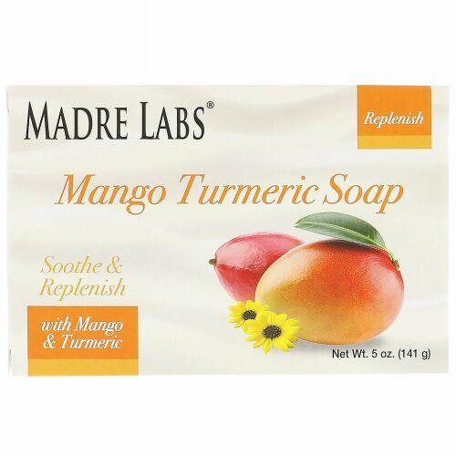 Madre Labs, マンゴーターメリック・ソープバー、ビタミンE・シア・アボカド・ホホバ・コカバター配合、5 oz (141 g) (Discontinued Item)