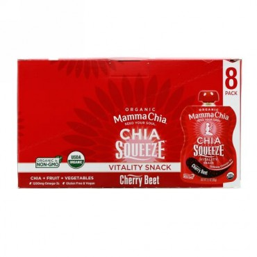 Mamma Chia, Organic Chia Squeeze, Vitality Snack, Cherry Beet, 8 Squeezes, 3.5 oz (99 g) Each