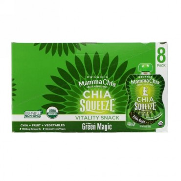 Mamma Chia, Organic Chia Squeeze, Vitality Snack, Green Magic, 8 Squeezes, 3.5 oz (99 g) Each