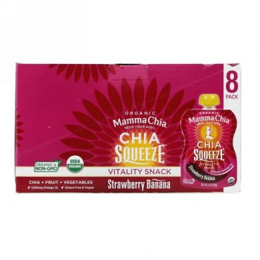 Mamma Chia, Organic Chia Squeeze, Vitality Snack, Strawberry Banana, 8 Squeezes, 3.5 oz (99 g) Each