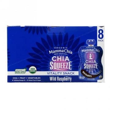 Mamma Chia, Organic Chia Squeeze, Vitality Snack, Wild Raspberry, 8 Squeezes, 3.5 oz  (99 g) Each