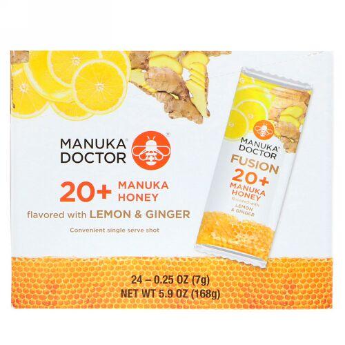 Manuka Doctor, フュージョン20+マヌカハニー、レモン&ジンジャー、24袋、各7g(0.25オンス)
