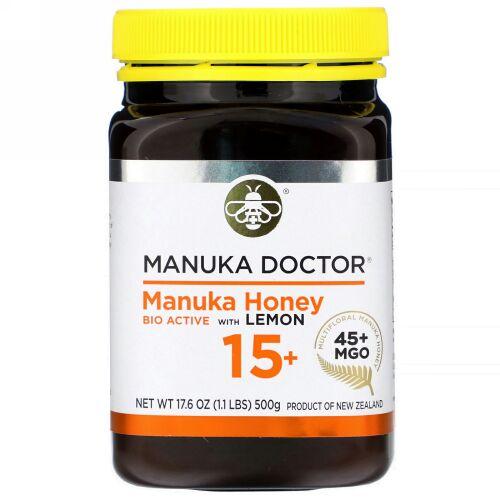 Manuka Doctor, マヌカハニーバイオアクティブ ウィズレモン15+、MGO 45+、500g(17.6オンス)
