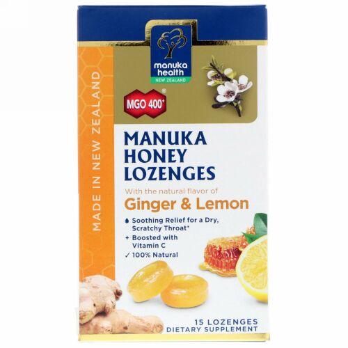 Manuka Health, マヌカハニートローチ、MGO400+、ジンジャー&レモン味、トローチ15粒