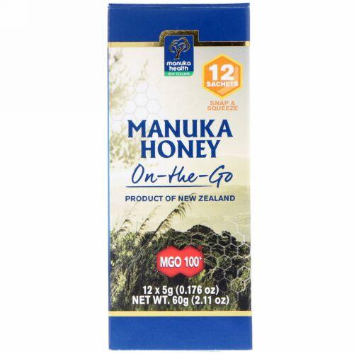 Manuka Health, マヌカハニーオンザゴー(持ち運び用)、MGO100+、12袋、各5g(0.176オンス)