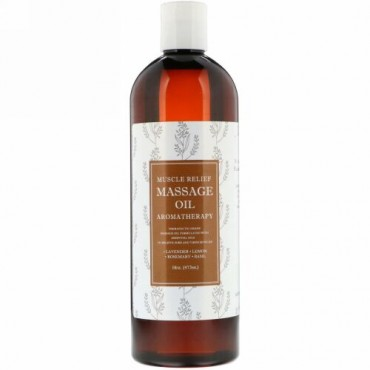 Maple Holistics, Muscle Relief Massage Oil, Aromatherapy, 16 oz (473 ml)